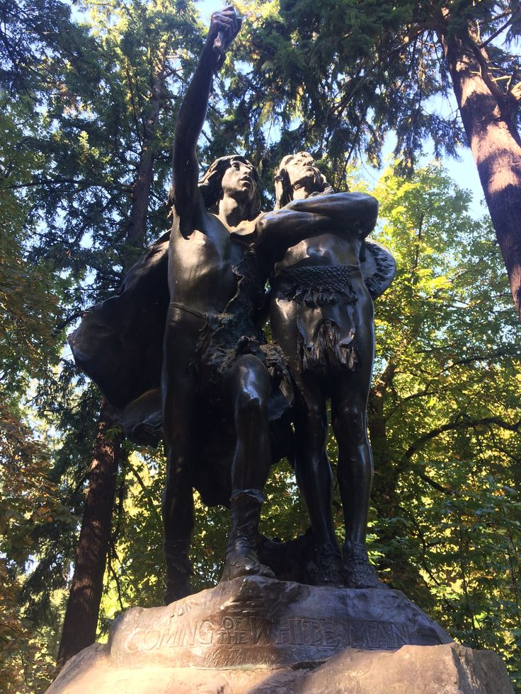 'Coming of the White Man' bronze statue in Washington Park Portland  © Sarah Murphy