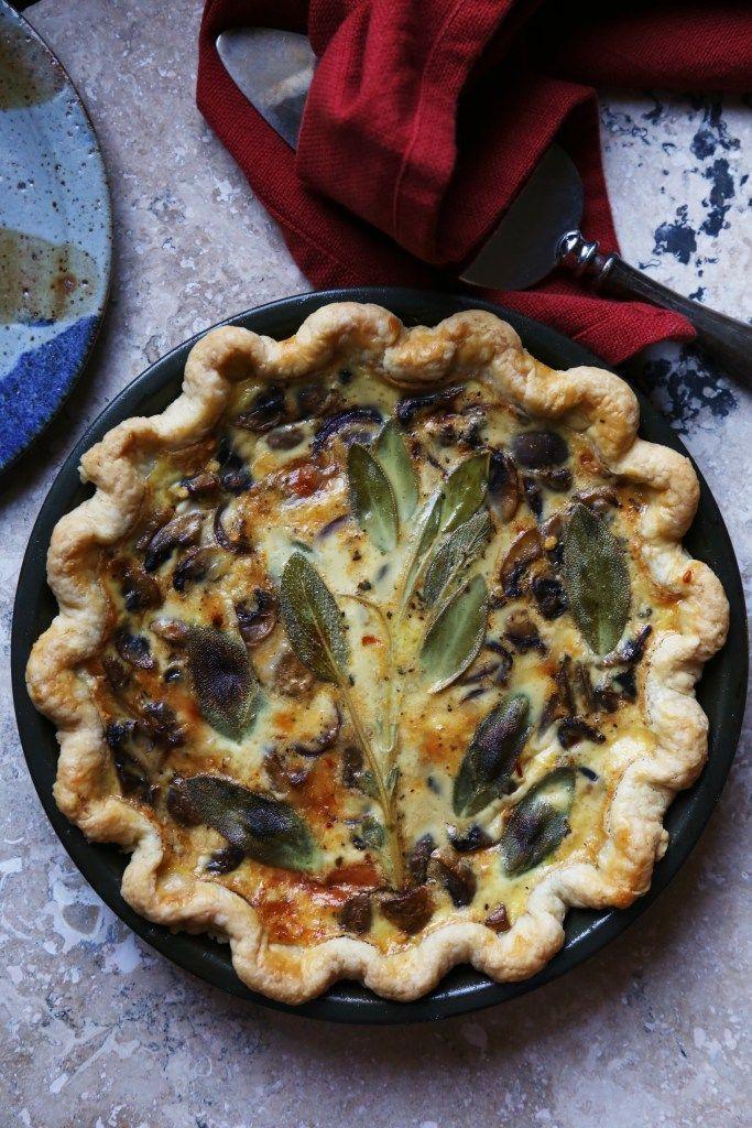 Mushroom And Sage Quiche In 2020 Vegetarische Wraps Glutenvrije Pannenkoeken Lekker