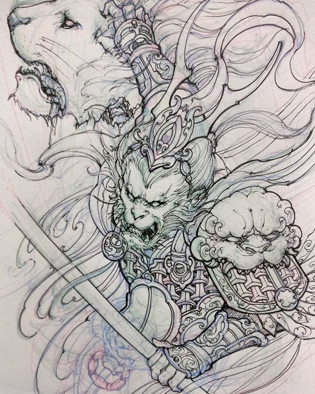 Monkey king sketch. #chronicink #asiantattoo #asianink #irezumi #tattoo #sketch #illustration #drawing #monkeyking #irezumicollective