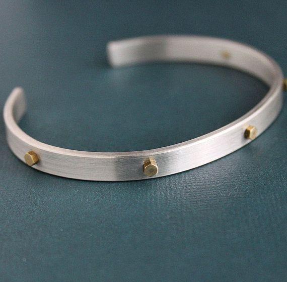 Men's Sterling Silver Cuff Bracelet with Brass Rivets by LynnToddDesigns