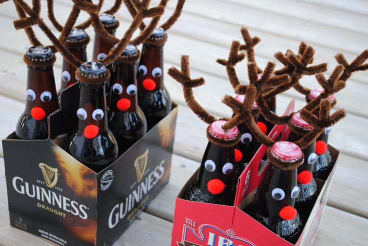 Six-Pack Reindeer - Buy a six-pack of bottled beverage (beer, root beer, soda, etc). decorate each bottle with googly eyes, small red pom pom nose & brown fuzzy pipe cleaners for the antlers. Great gift idea.