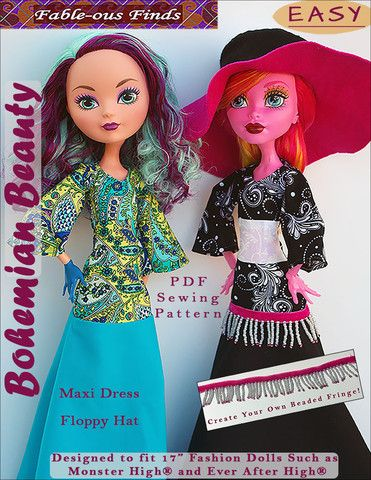 Fable-ous Finds Bohemian Beauty Maxi Dress and Floppy Hat Doll Clothes Pattern 17 Inch Monster High Dolls | Pixie Faire