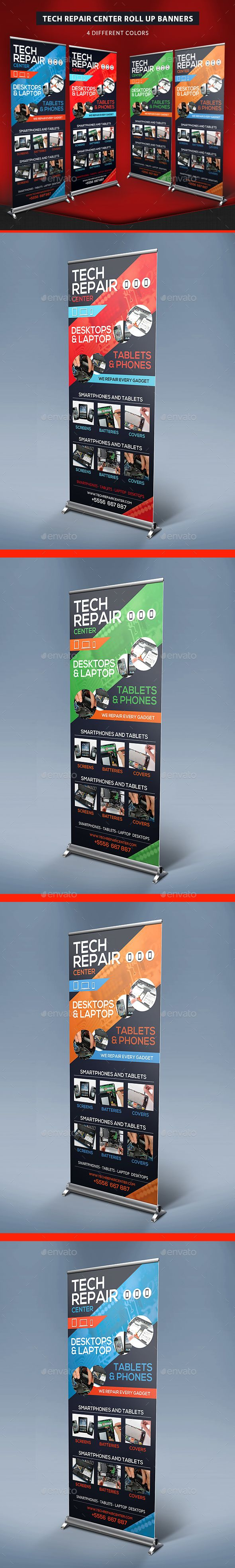 Tech Repair Center Roll Up Banners by HollyMolly Increase your clients and social influence with this Tech Repair Center Roll Up Template. With these signage display template, yo