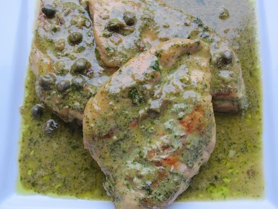 Chicken with Cilantro-Parsley-Capers Sauce - the only thing I would ...