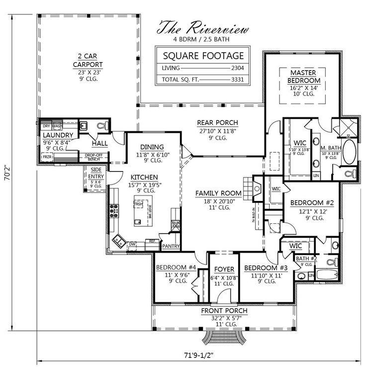 The Riverview plan by Madden Home Design, 2304 square feet living area, 3331 total square feet, 4 bedrooms, 2.5 baths, Acadian style, rustic