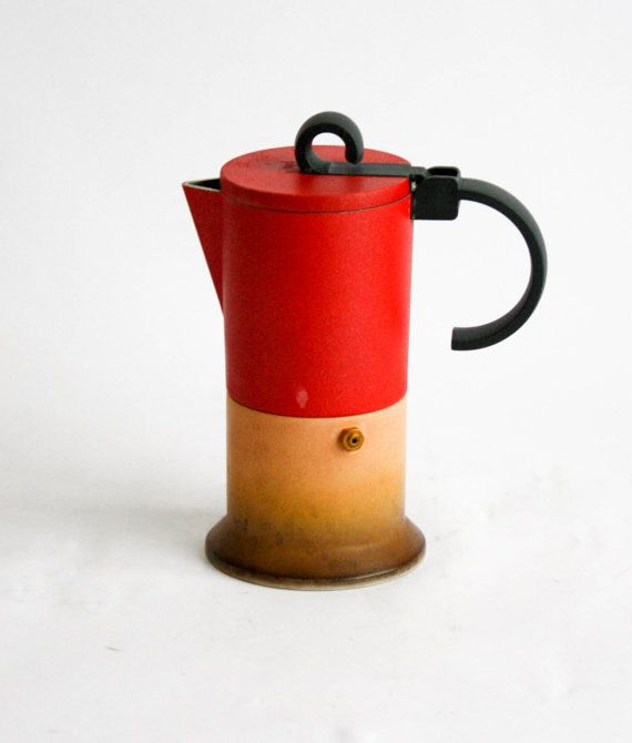 Bialetti Bia 2 Vintage Coffee Maker -  Rare Out of Production - 4 Cups - Red and Yellow