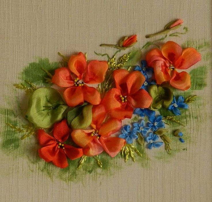 Ribbon bunch os flower - Ribbon embroidery Picture