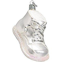 Old World Christmas White Baby Shoe Glass Blown Ornament