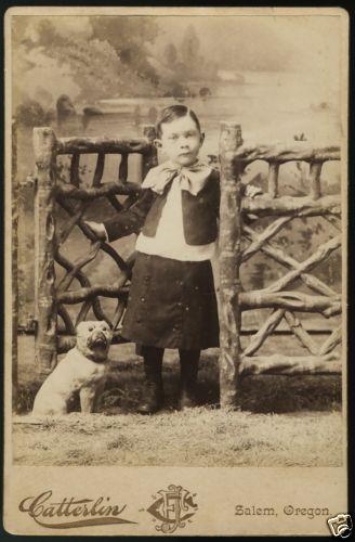Boy w Bow Chalk Chalkware Toy Bulldog Pug Victorian Cabinet Card Salem Or | eBay