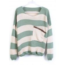 Green Stripes Loose Sweater with Pocket.