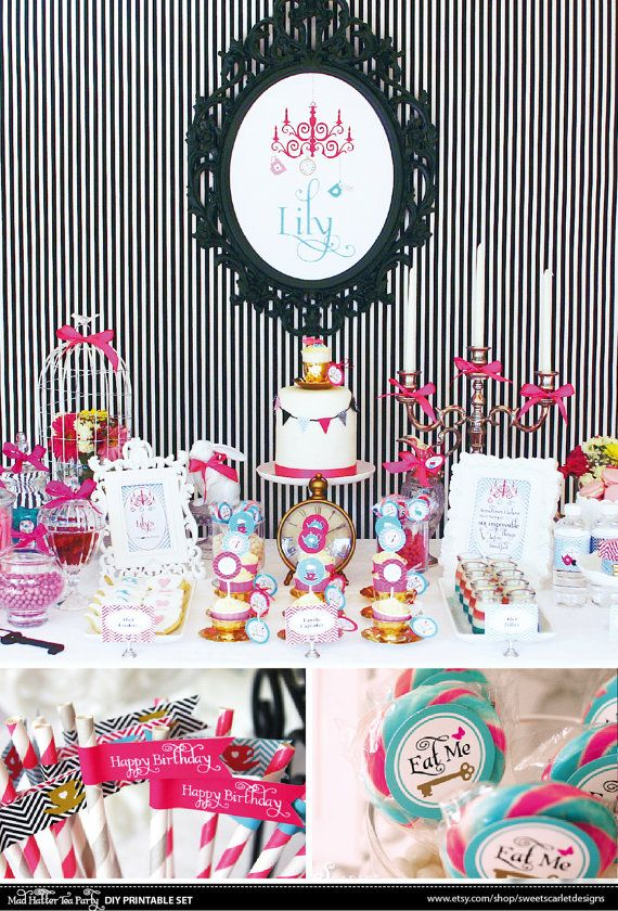 ALICE in Wonderland Party Set stampabile di SweetScarletDesigns