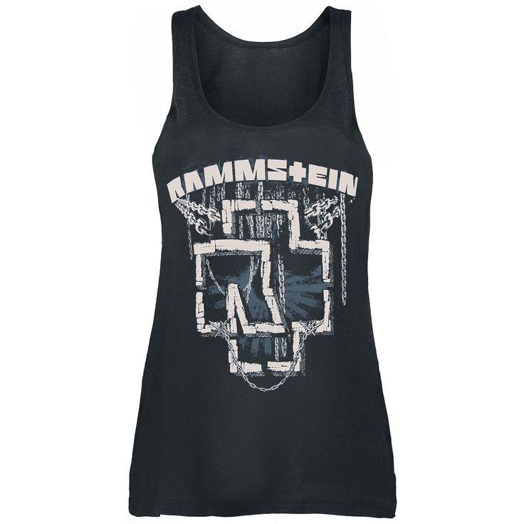 """Top donna """"In Ketten"""" dei #Rammstein nero, taglio morbido, con logo e nome della band stampati sul davanti."""