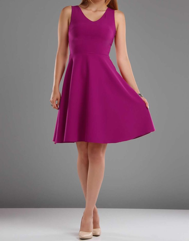 V Yaka Kloş #Etek #Elbise - #Fuşya