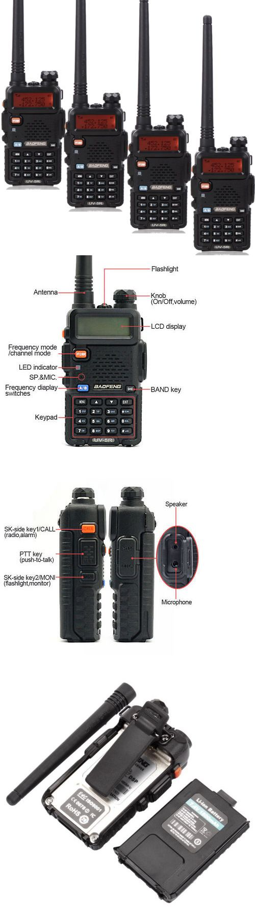 Walkie Talkies Two-Way Radios: 4Pcs Baofeng Uv-5R Vhf/Uhf 136-174And400-520Mhz Dtmf Ctcss Ham Radio Walkie Talkie BUY IT NOW ONLY: $100.59