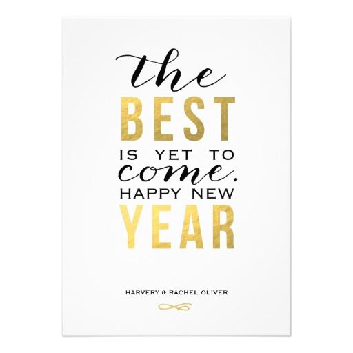 The Best is Yet to Come | New Years Photo Card. A bold a sophisticated black and gold New Years card.