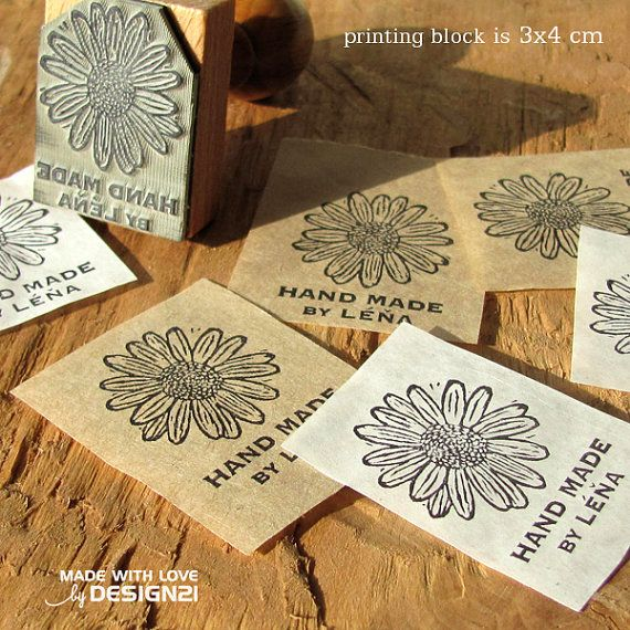 Marguerite: personalised rubber stamp 3x4 cm by lida21 on Etsy
