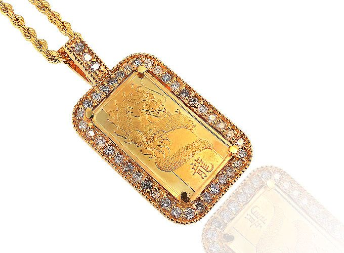 54 best custom jewelry images on pinterest custom jewelry king johnny johnnys custom jewelry 24k 5gram year of the dragon gold bar with aloadofball Gallery
