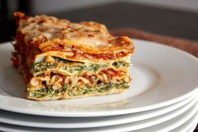 Roasted Vegetable and Spinach Lasagna... REALLY good! I made this for Gabrielle and Caleb :) They said they loved it too!