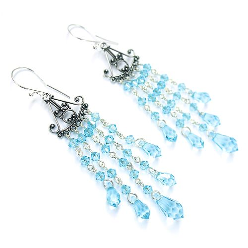 Aquamarine, orient-inspired earrings, long, sparkling and stunning. Swarovski teardrops and silver.
