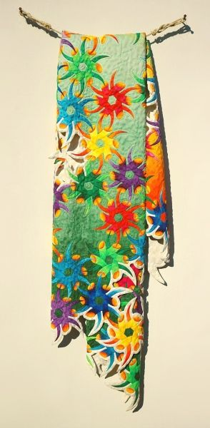 """Passiflora"" Carved wood & Silk dyes, 72"" x 24"" x 5"", 2006"