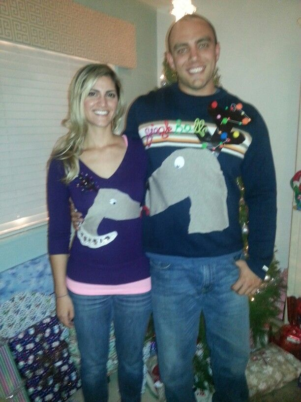 Ugly Christmas Sweaters. DIY. Couples edition! Kissing reindeer. It ...