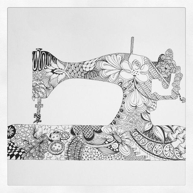 Sewing Machine Zentangle by designsbykari, via Flickr