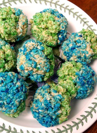 Rice Krispy Earths! Painted with watered-down food coloring