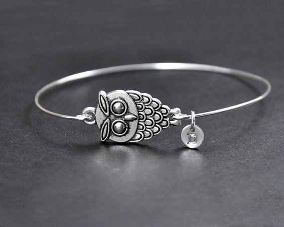 Personalized Owl Bangle Little Owl Bracelet by InitialFashion