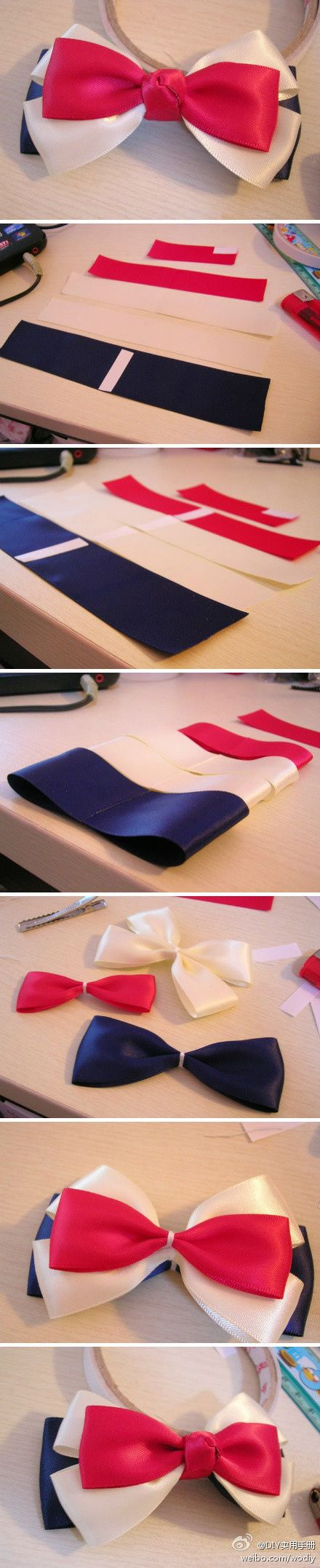 3 colored bow diy