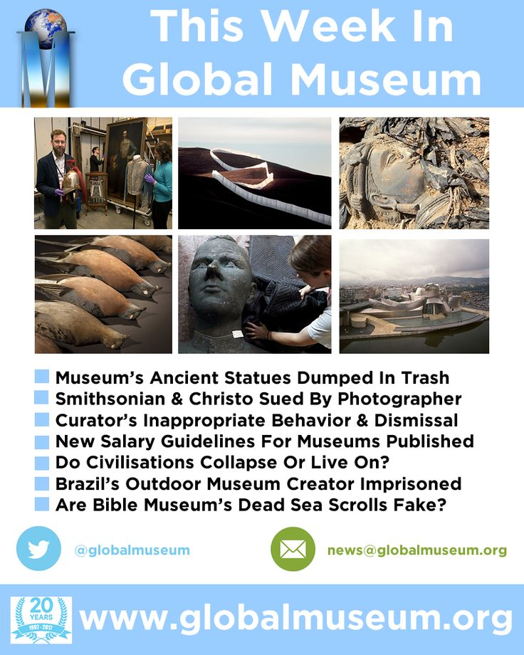 This Week - Smithsonian & Christo Sued * Curator's Inappropriate Behavior * Salary Guidelines For Museums * Do Civilisations Collapse? * Museum's Ancient Statues Dumped In Trash * Outdoor Museum Creator Imprisoned * Are Museum's Dead Sea Scrolls Fake? http://www.globalmuseum.org #museum #news #globalmuseum #jobs