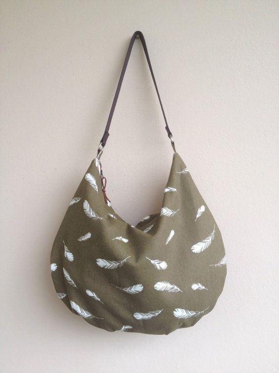 Feather Print Hobo Canvas Hobo Bag Feathers by NormasBagBoutique
