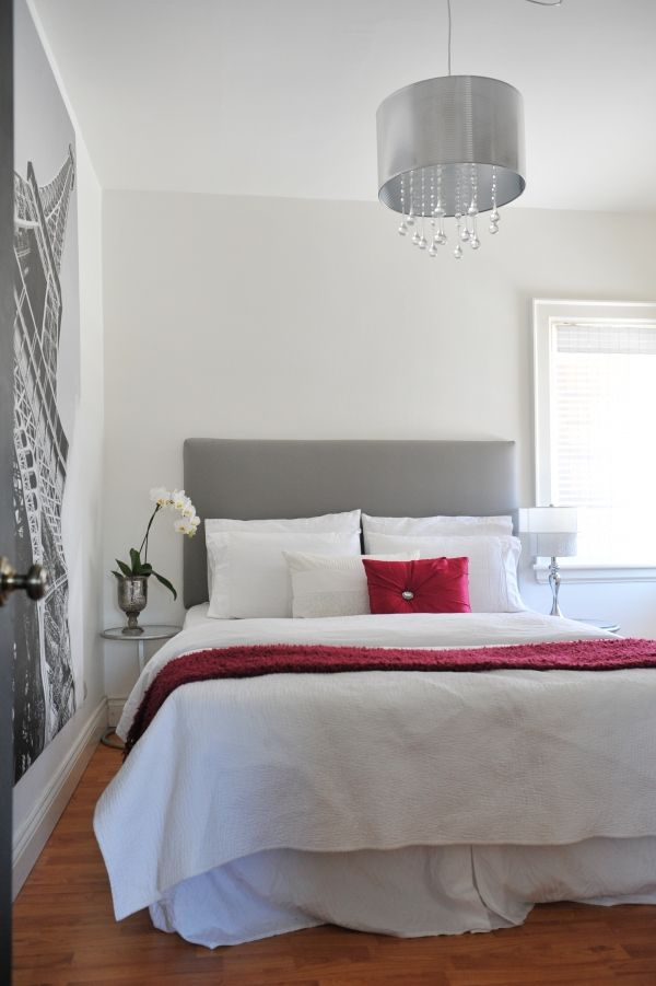 grey and white bedroom I would add a touch of fusia instead of red but otherwise Gorg!