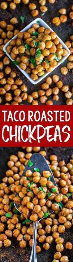 These Taco Seasoned Roasted Chickpeas are quick, easy, and oh-so tasty! We absolutely adore them as a salad topper or as a vegetarian taco filling!