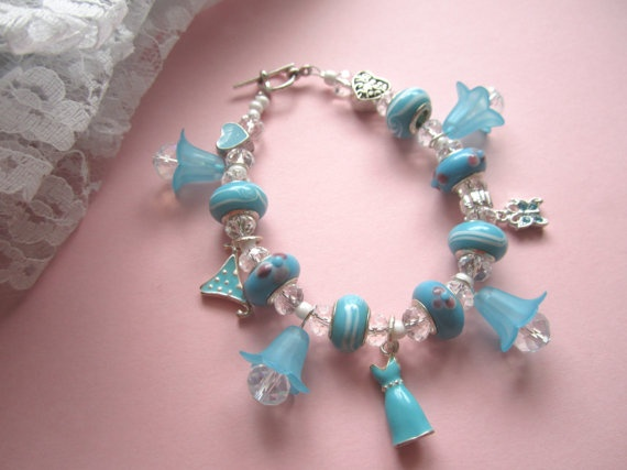 charms gallore blue and white lampwork beads by 898