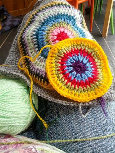 Bullseye blanket in progress