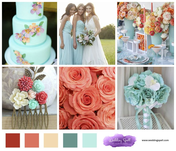 Wedding Color Ideas Summer: Summer Wedding Colors 2017 Coral Teal Cake Flowers DIY