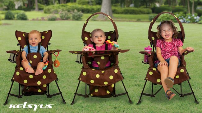 The Go-With-Me-Chair. Chair adjusts to 3 different stages, each for different ages, growing with your child. Portable, good indoors or outdoors. Includes canopy, play area, and harness for younger children. #OutdoorGear #Kelsyus