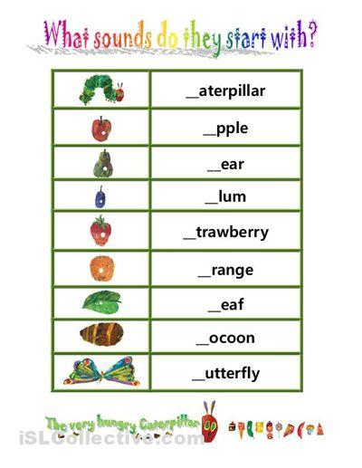 hungry caterpillar beginning sounds