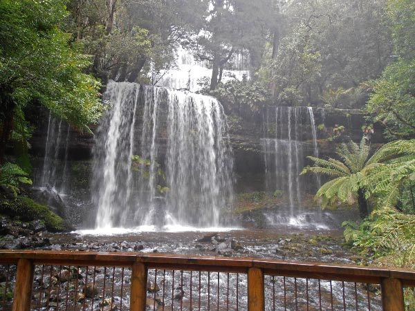 Russell Falls, Mt Field National Park in the Derwent Valley.  Article & photo by Jen Thompson.