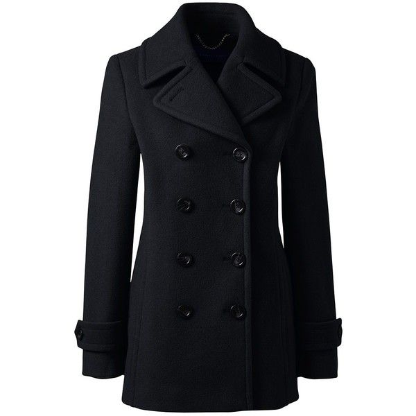 Lands' End Women's Petite Wool Peacoat (130 CAD) ❤ liked on Polyvore featuring outerwear, coats, jackets, black, petite pea coat, lands end coats, lands' end, peacoat coat and woolen coat