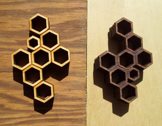 Honeycomb Lasercut Wood Pendant Poplar Or Walnut Stained