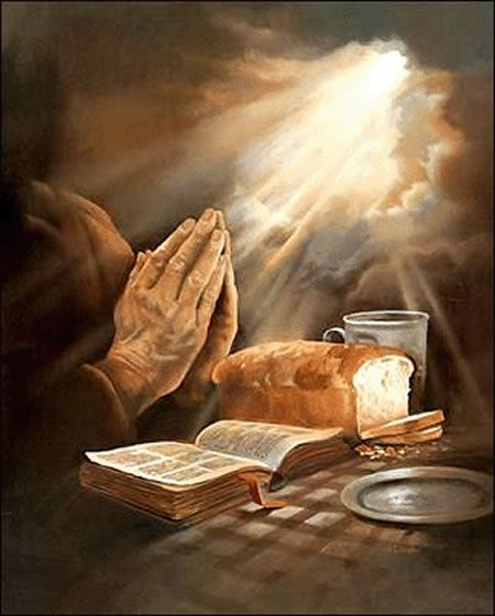 Praying hands over bread and word of God with open heavens, prophetic art.