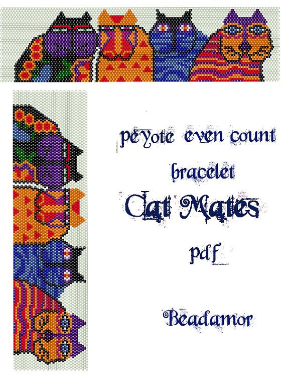 Peyote Pattern for bracelet Cat Mates- INSTANT DOWNLOAD pdf