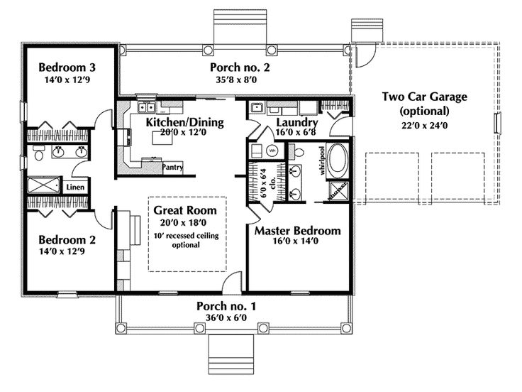 One Story Ranch House Plans   Country House Plan First Floor   028D 0075   House Plans and More