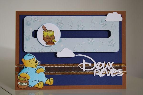 scrapbooking  carte winnie l'ourson au pays des rêves bleus - Disney