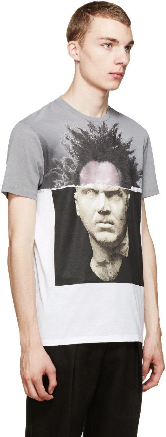 Neil Barrett Grey & White Hybrid Graphic T-Shirt