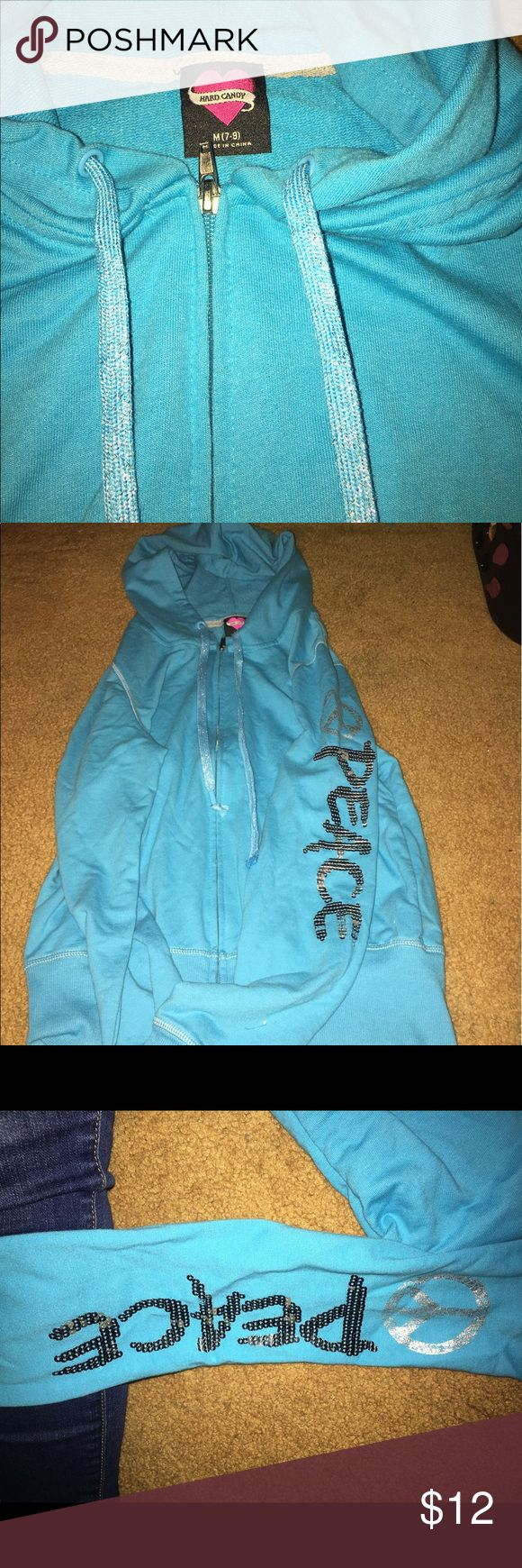 "Hard candy blue zip up hoody NWOT- Blue zip up sweat shirt with ""peace"" on the sleeve Hard Candy Tops Sweatshirts & Hoodies"