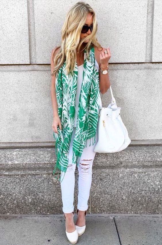 White on white with pop of color scarf. emerald & white summer scarf with white skinny jeans and white tank. Stitch Fix Summer 2016