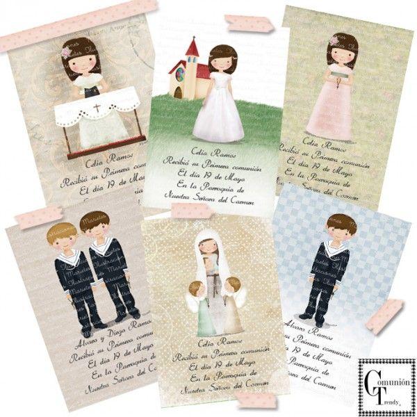 Marietes Ilustraciones, Invitaciones Comunión, Libro firmas Comunión, Comunión Trendy www.comuniontrendy.com