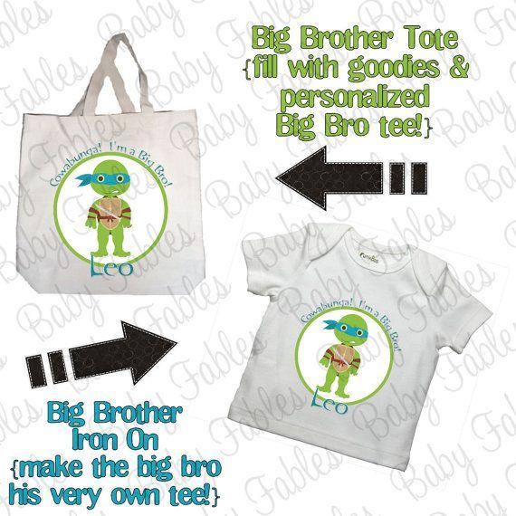 Big Brother Kit - Tote Bag - Teenage Turtles Includes Personalized Big Brother Tote AND Big Brother Iron On on Etsy, $15.00